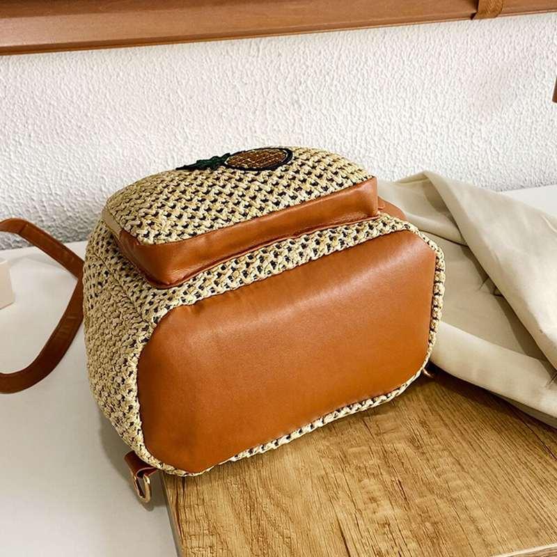 mini sac à dos motif ananas paille fond renforcé cuire
