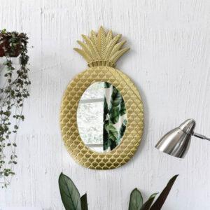 Déco Ananas <br>Miroir Ananas Doré