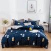 parure de lit ananas bleu 1 personne ou 2 personnes avec housse de couette, drap et taies d'oreiller