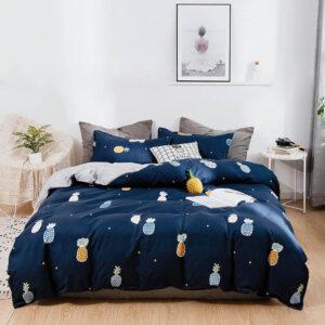 Housse de Couette Ananas Bleu Nuit