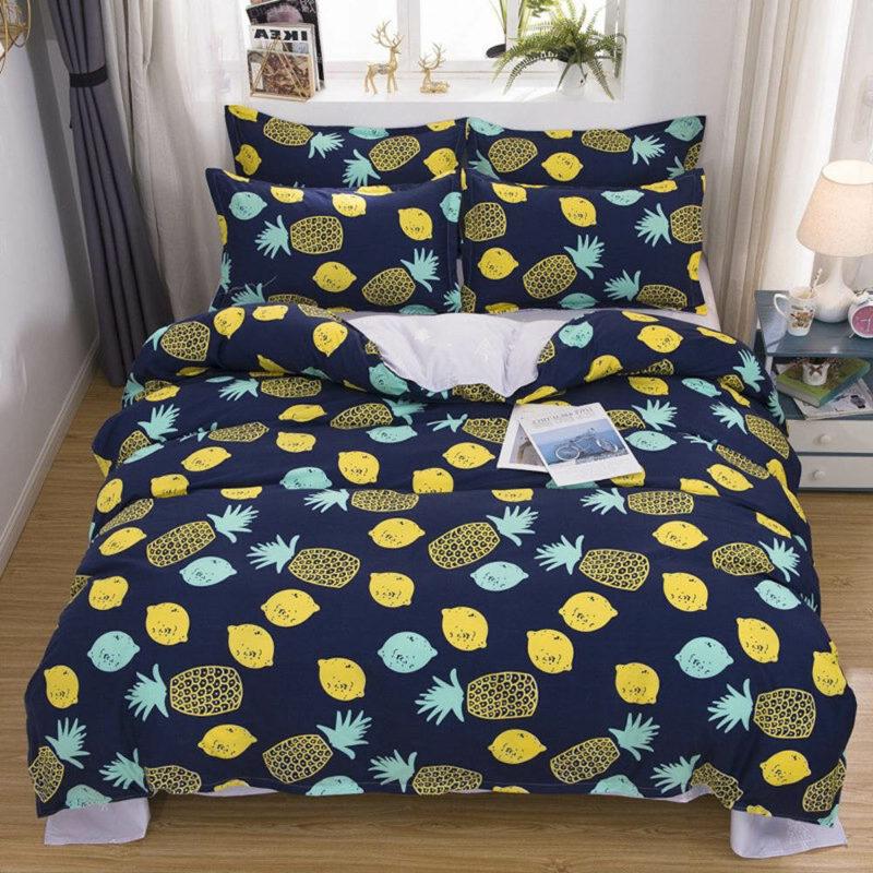 parure de lit ananas et citron avec taies d'oreiller et housse de couette