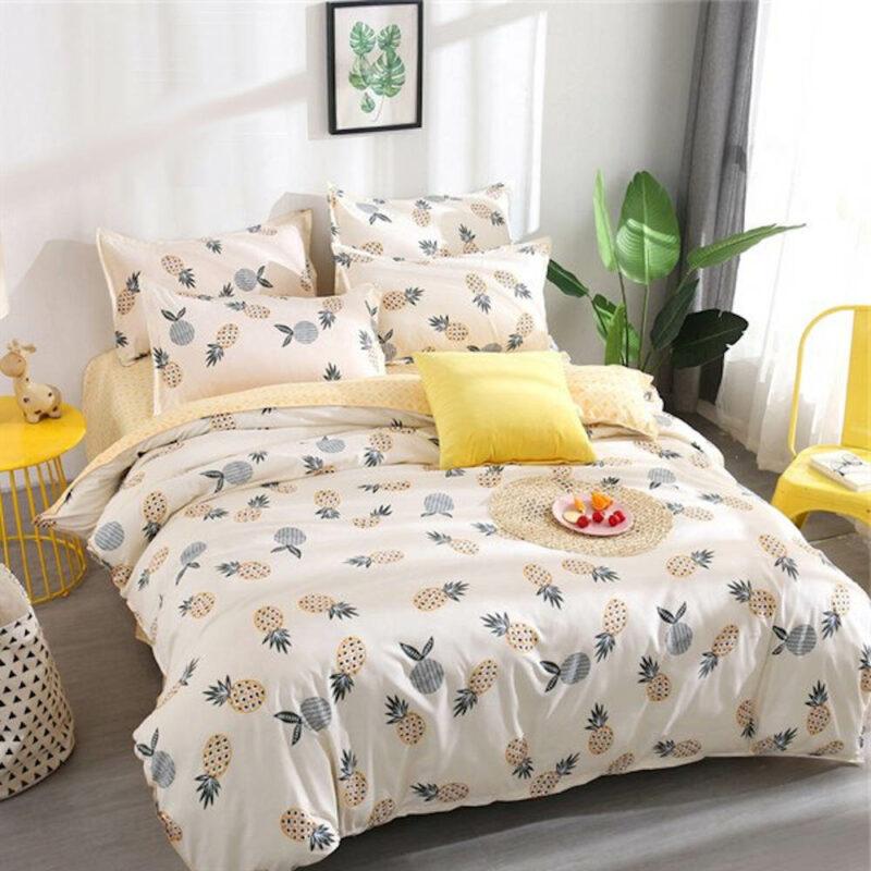 parure de lit ananas et fruit avec housse de couette, drap et taies d'oreiller