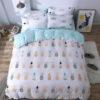 parure de lit ananas geometrique 1 personne ou 2 personnes avec housse de couette, drap et taies d'oreiller