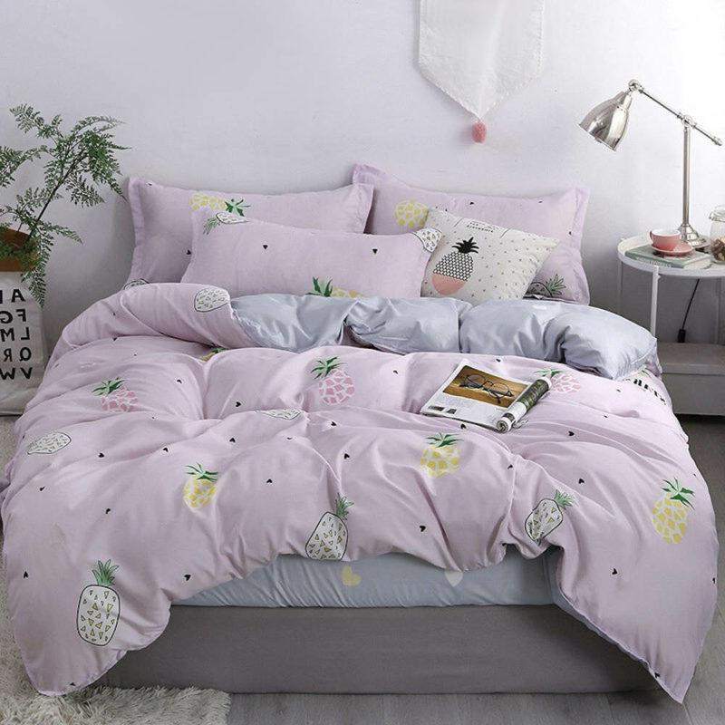 parure de lit ananas rose pale avec housse de couette, drap et taies d'oreiller pour 1 personne ou 2 personnes