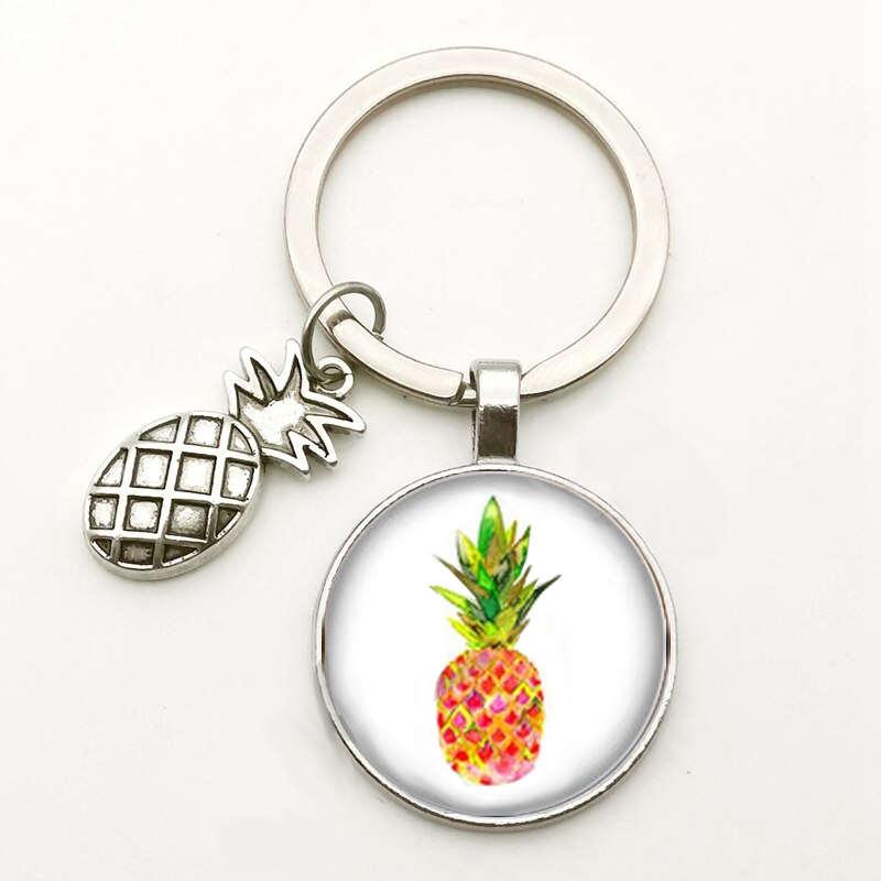porte-clés motif ananas tropical sous cabochon