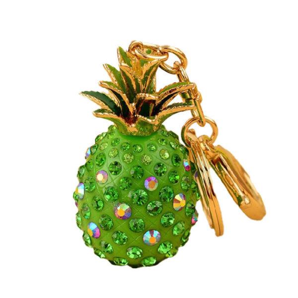 porte clés ananas vert doré avec pierres en strass