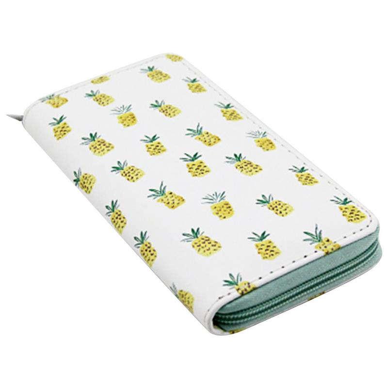 porte-monnaie ananas blanc avec fermeture éclair verte pour femme