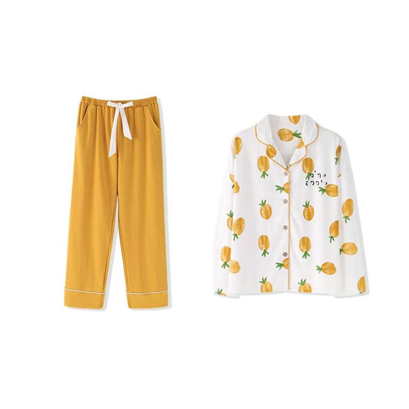 pyjama ananas orange hiver avec pantalon long et chemise manche longues