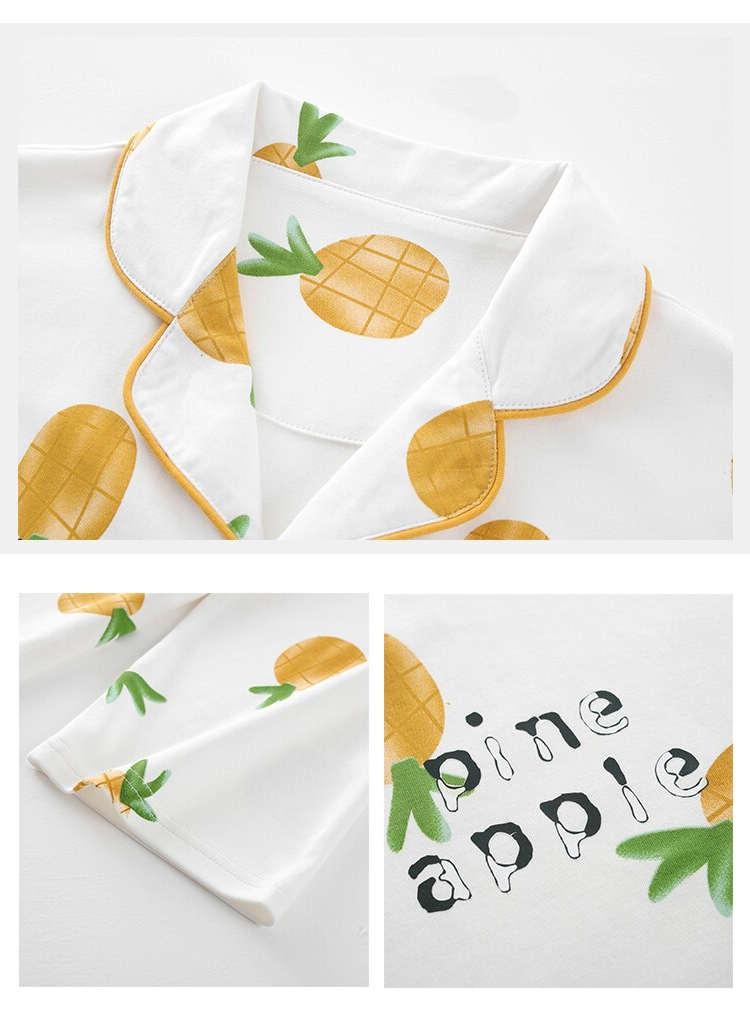 pyjama ananas orange zoom chemise à manche longues