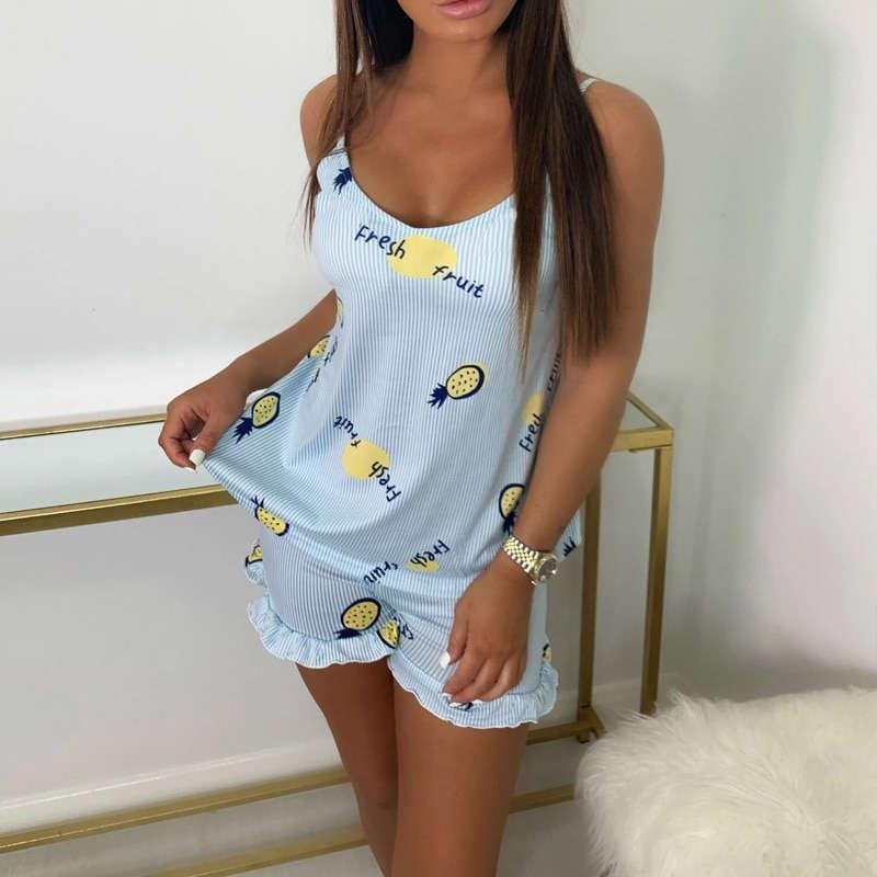 pyjama short ananas bleu vue de devant