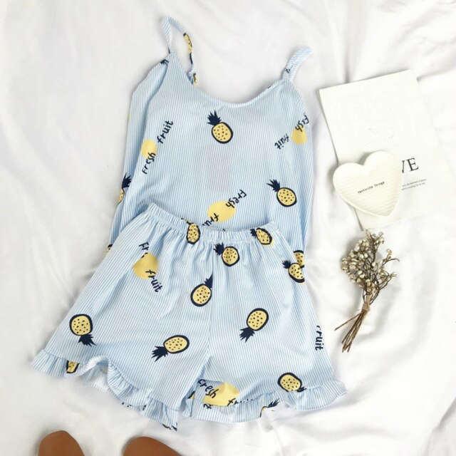 pyjama short ananas bleu