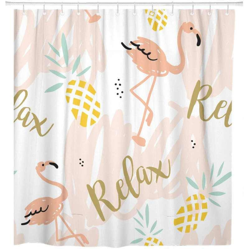 rideau de douche ananas et flamants roses imprimé du mot relax