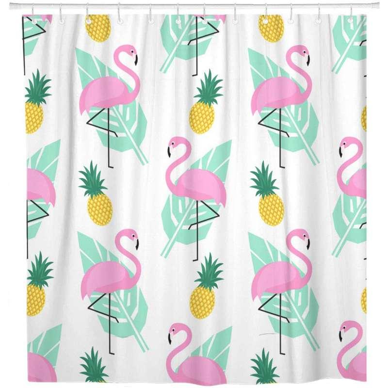 rideau de douche ananas et flamant rose