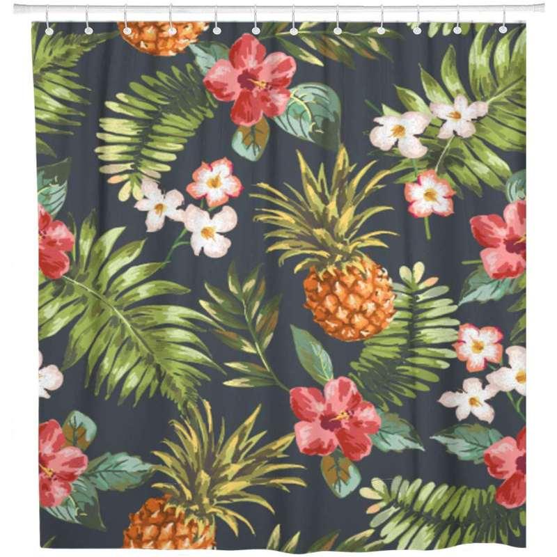 rideau de douche ananas imprimé de motifs d'ananas et de plantes et fleurs tropicales