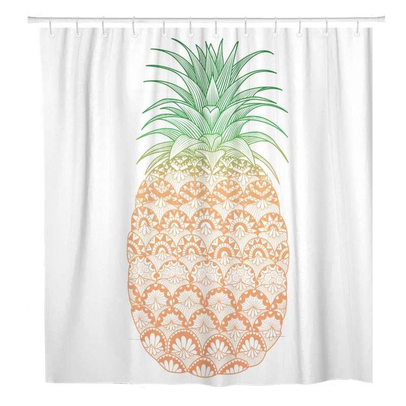 rideau de douche ananas imprimé d'un fruits avec des motifs artistiques
