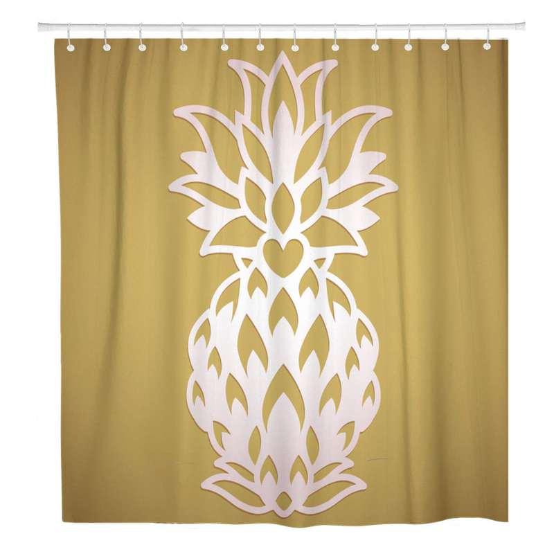 rideau de douche couleur sable imprimé d'un motif d'ananas