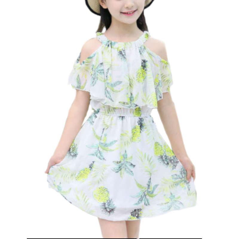 Robe ananas fille blanche pour enfant avec palmiers