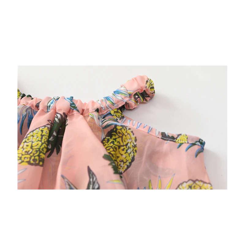 robe ananas fille rose zoom bretelles