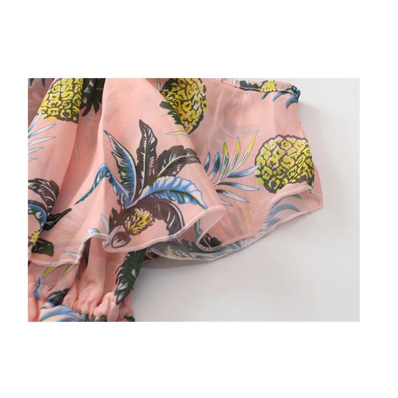robe ananas fille rose avec palmier zzom sur les manches courtes