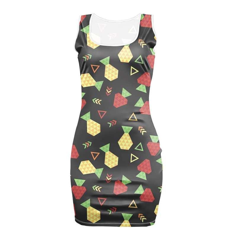 robe moulante imprimée de motifs ananas, fraise et confettis