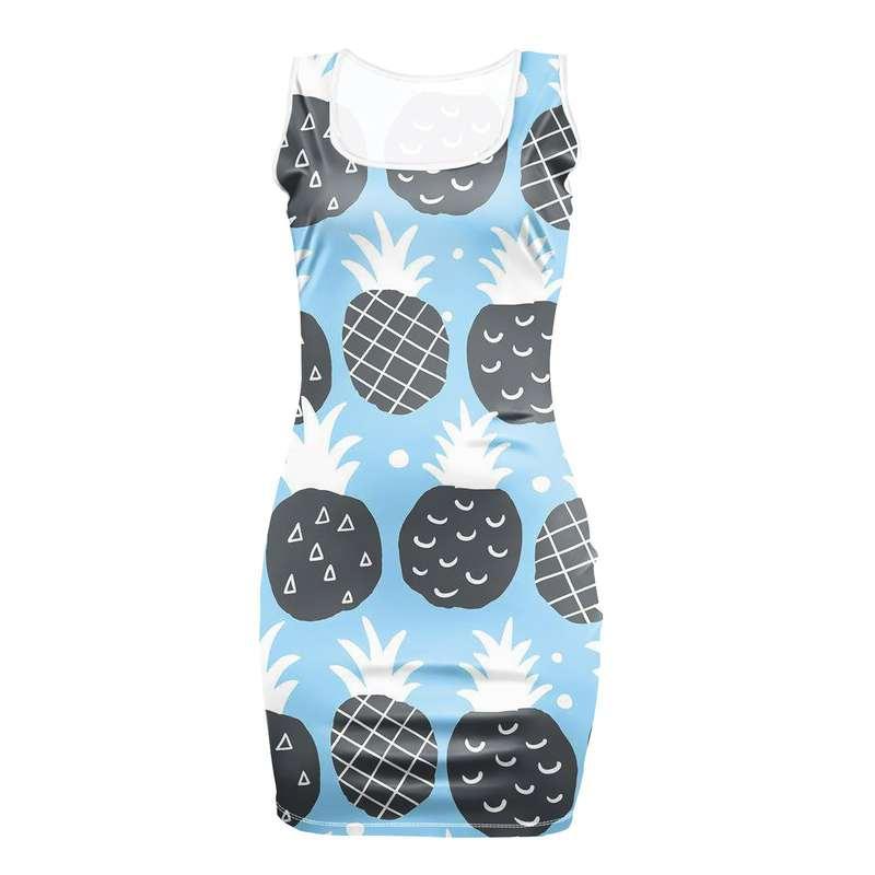 robe motifs ananas de couleur bleu ciel ave fruits noir et blancs