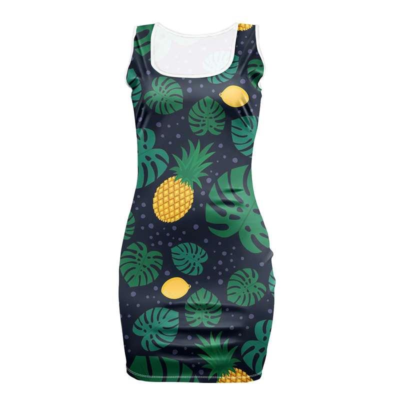 robe motifs ananas moulante avec citrons et feuilles de monstera