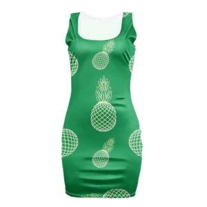 Robe Ananas Géométrique Moulante Verte