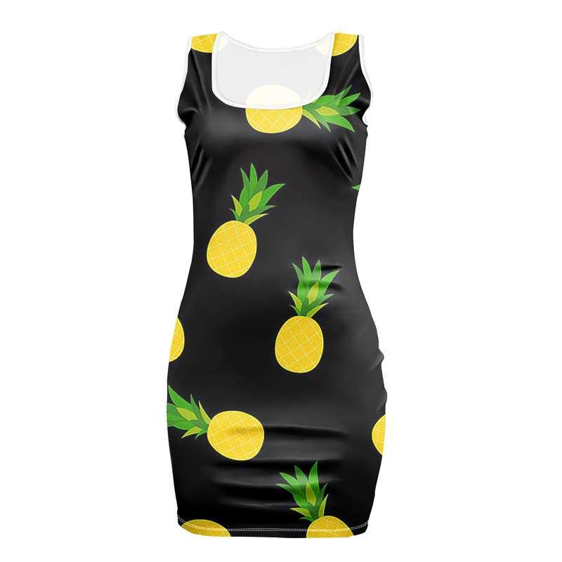 robe ananas moulante avec motifs de fruits jaunes et verts