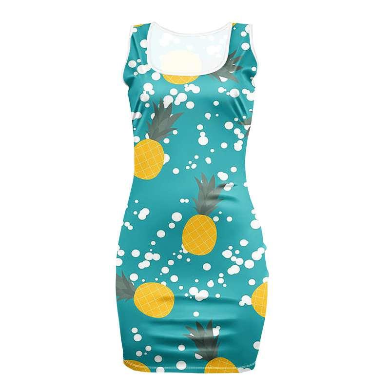 robe motifs ananas moulante bleue avec poids blancs comme de la neige