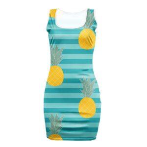 Robe Ananas Moulante Rayures Bleues