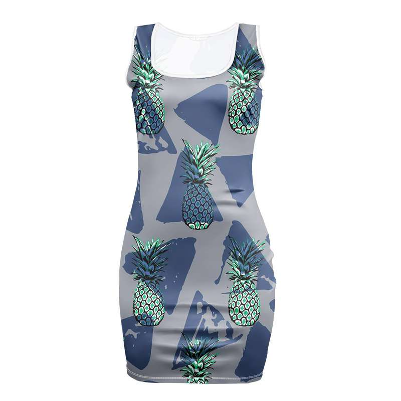 robe motifs ananas moulante grise avec triangles bleus
