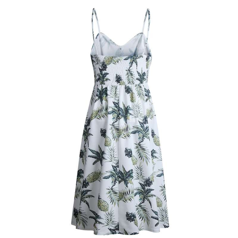 robe longue motifs ananas et palmiers blanche vue de dos