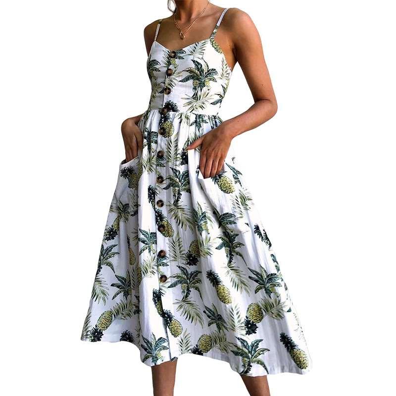robe longue motifs ananas et palmiers blanche à boutons femme
