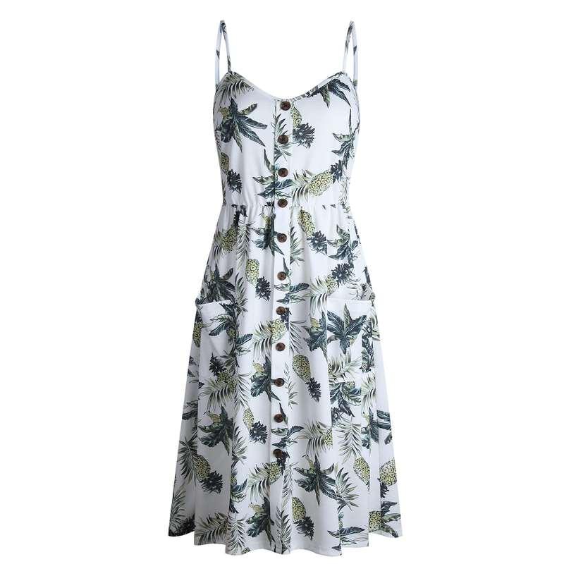 robe longue motifs ananas boutonnée blanche