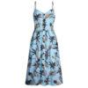 robe longue motifs ananas et palmiers bleue à boutons