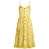 robe longue couleur ananas avec feuilles boutonnée