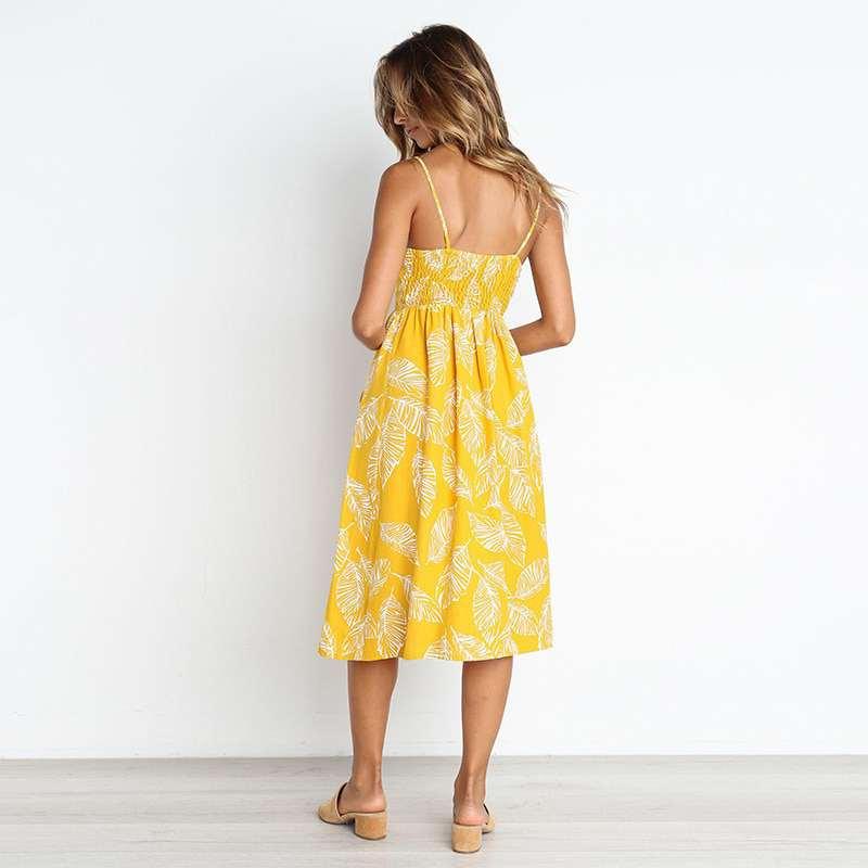 robe longue couleur ananas avec feuilles vue de dos