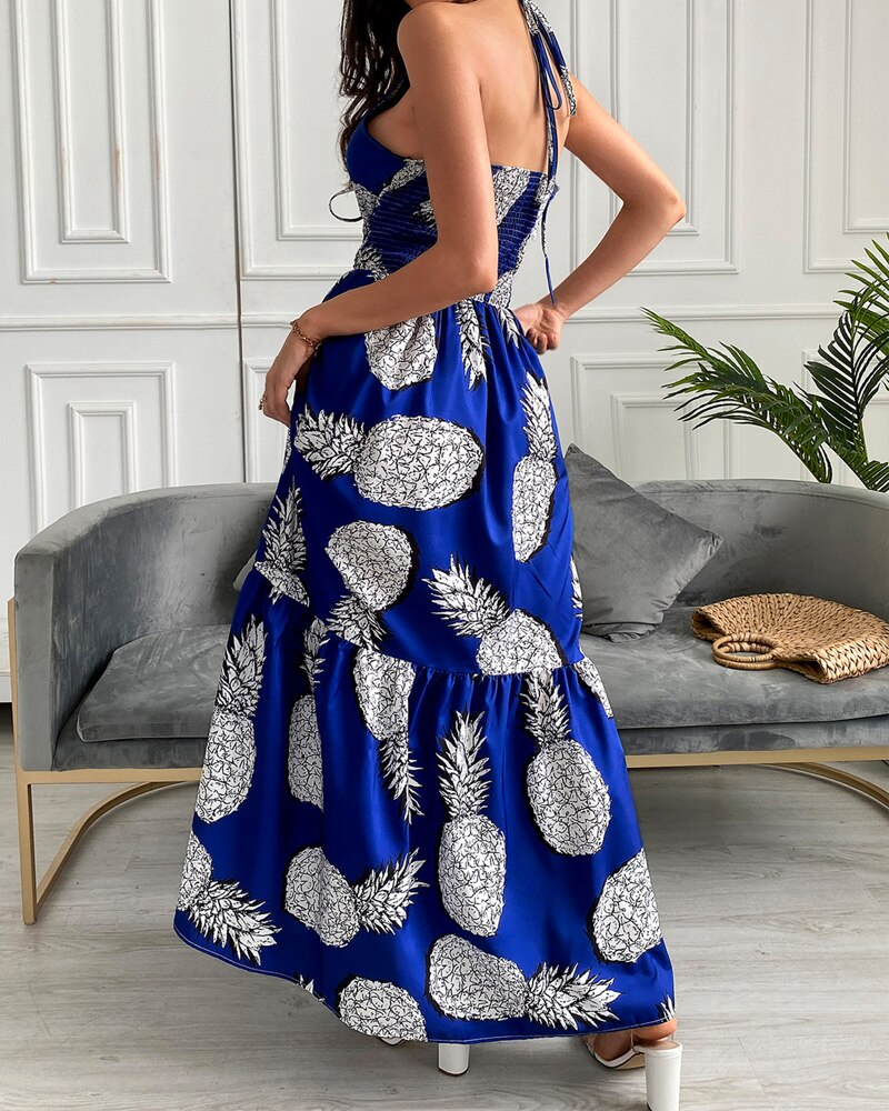 robe motifs ananas longue