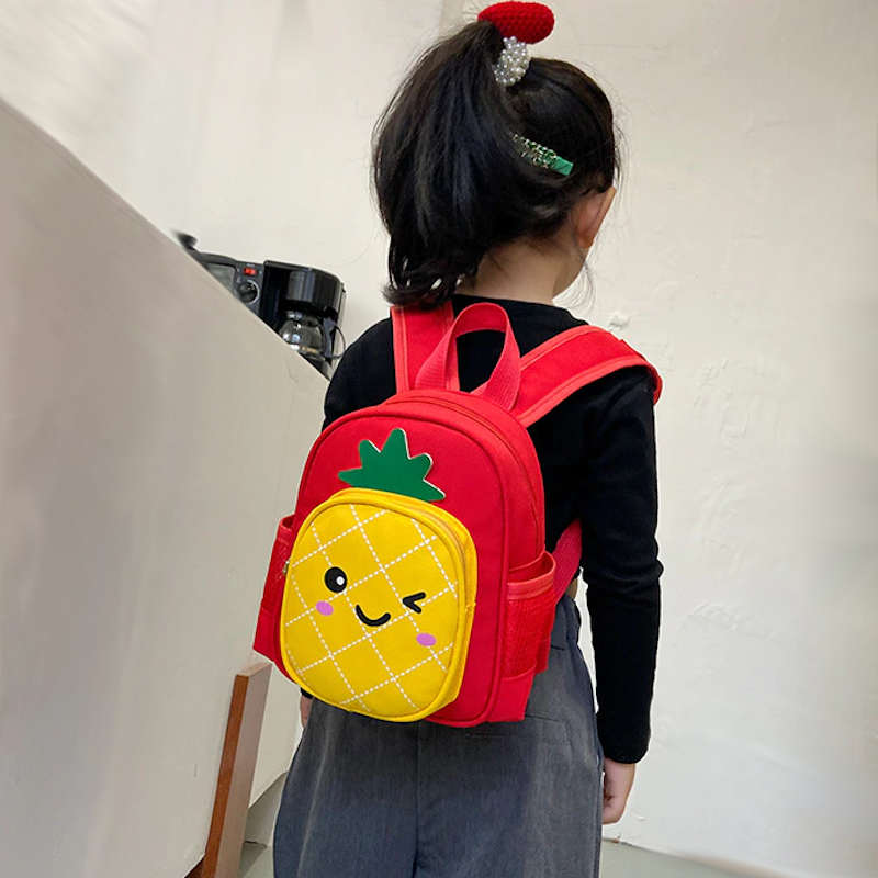 sac à dos ananas enfant maternelle rouge avec poche en forme d'ananas