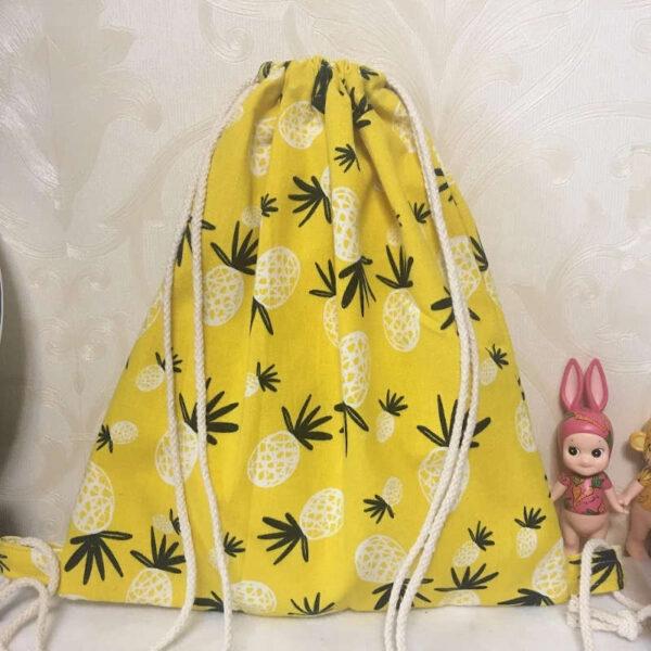 sac à dos cordon jaune motifs ananas