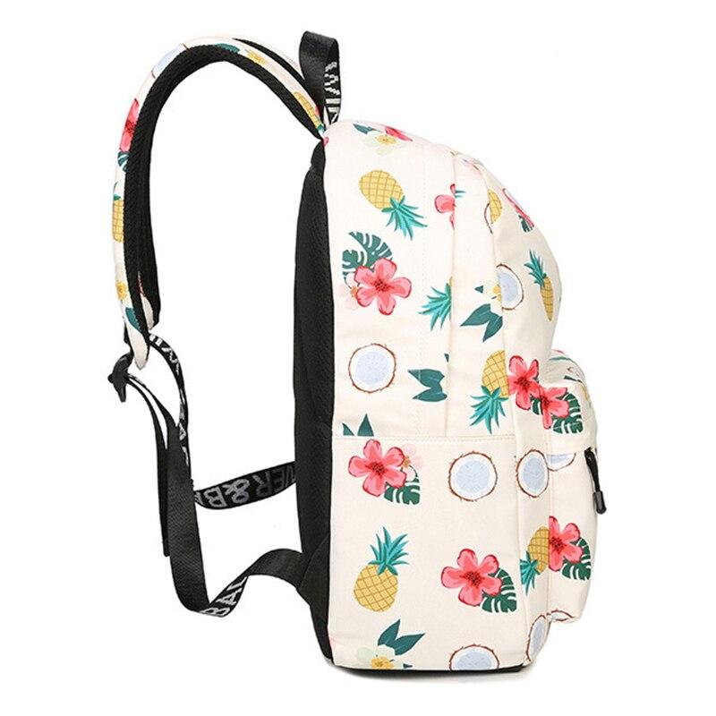 sac a dos imprimé de motifs ananas, fleurs et coco