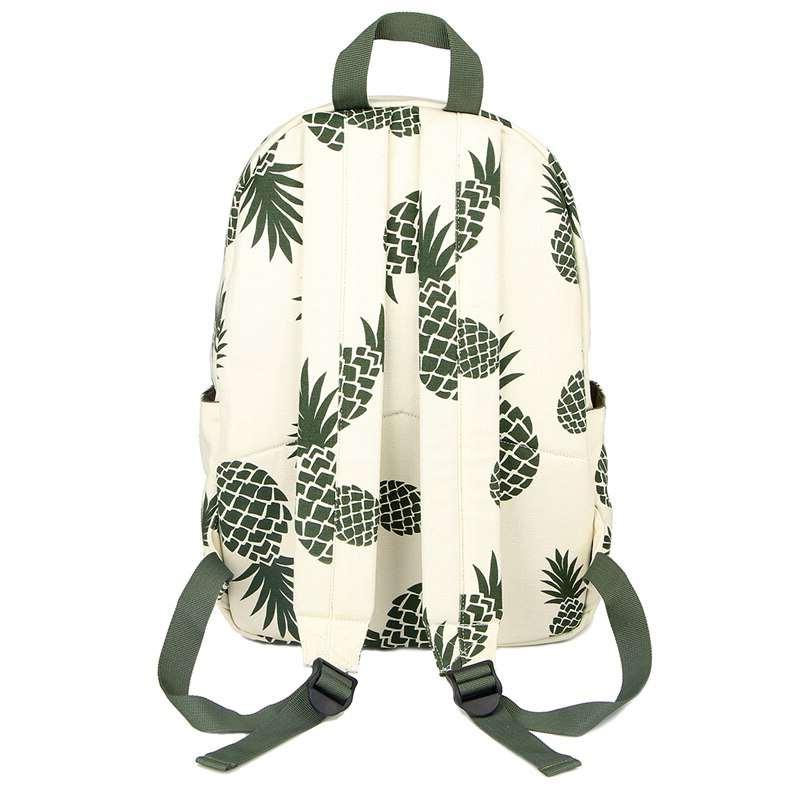 Sac à dos motifs ananas noir et blanc bretelles dos
