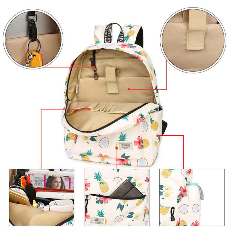 sac à dos motif ananas, tiaré, coco détails poches intérieures