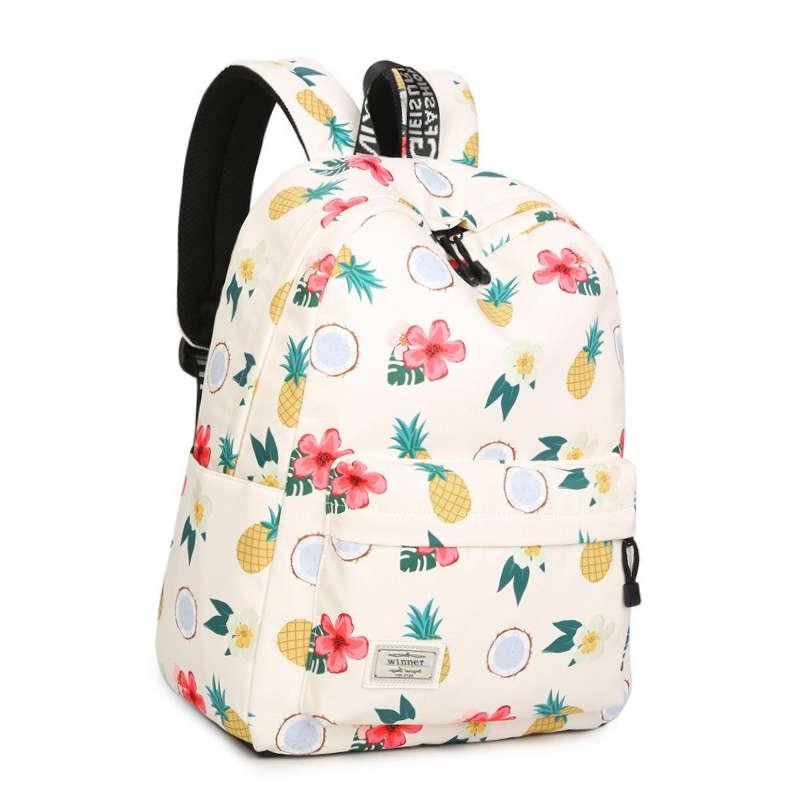 sac à dos avec des motifs ananas, fleur de tiaré et noix de coco