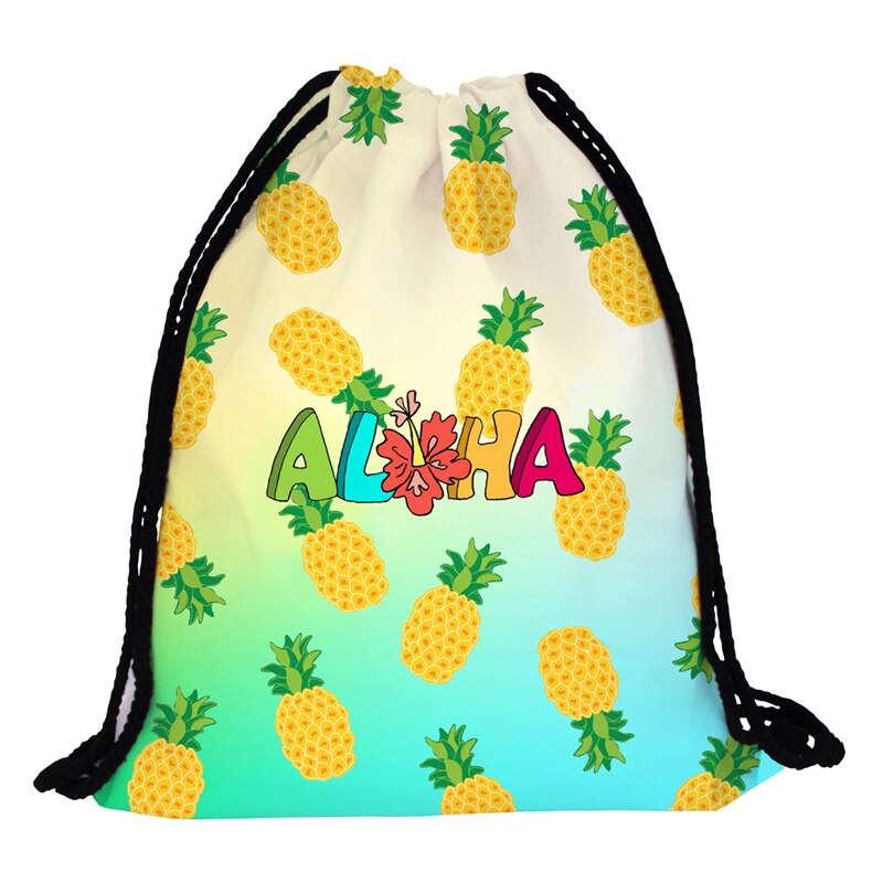 sac à dos imprimés de motifs ananas avec bretelles en cordon noires et inscription aloha