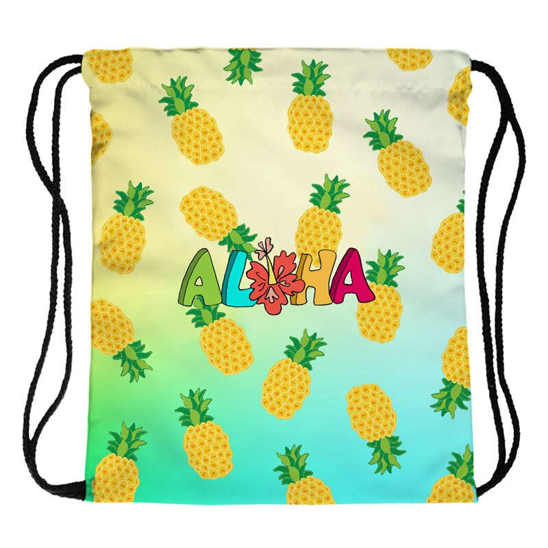 sac à dos cordon imprimé de motif ananas et du mot aloha