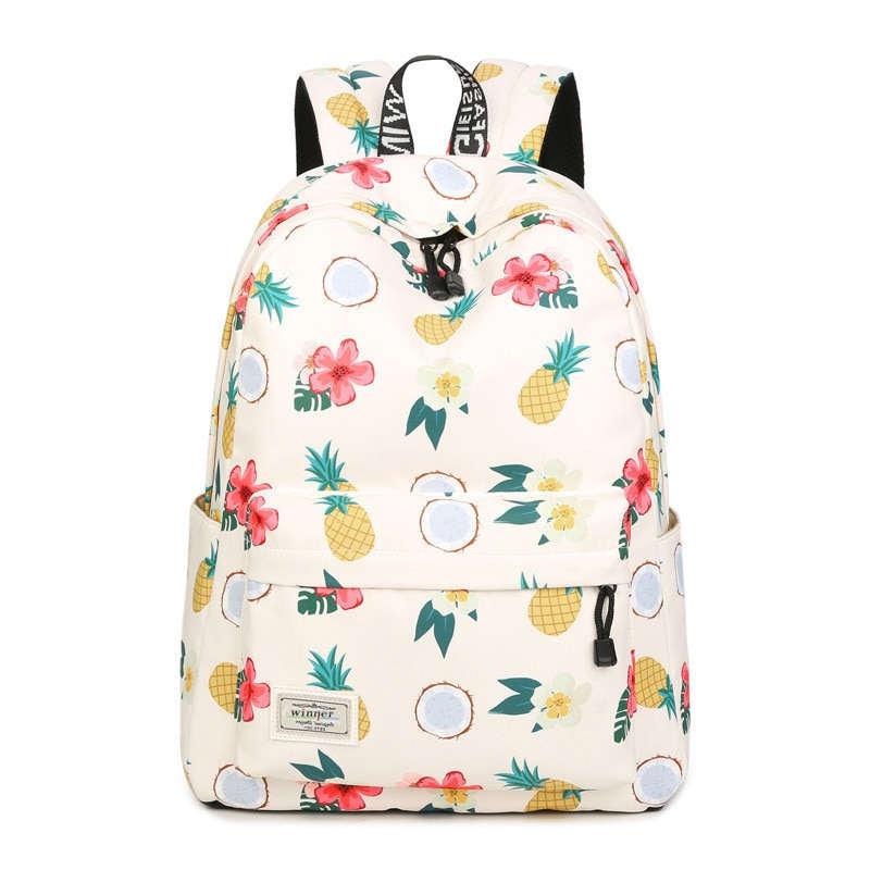 sac à dos motif ananas tiaré coco pour école