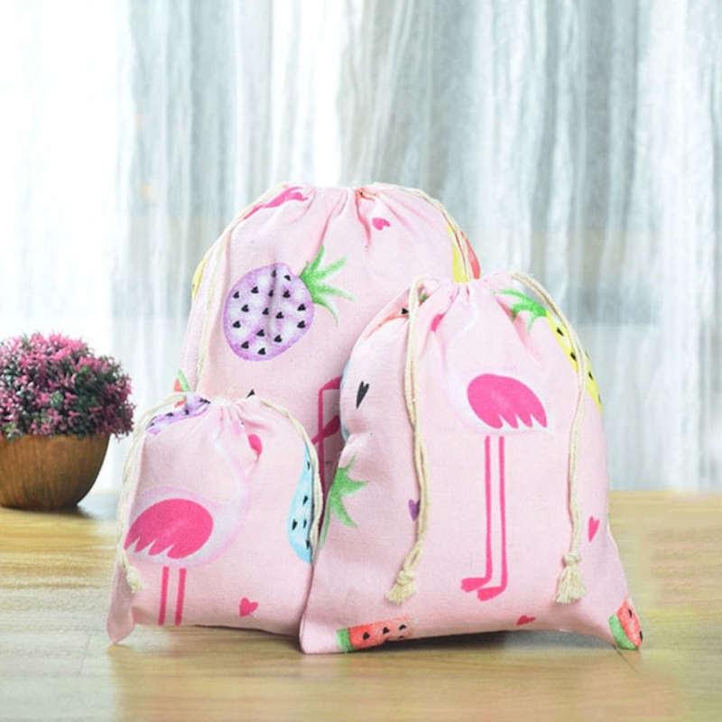sac à vrac motifs ananas et flamants roses