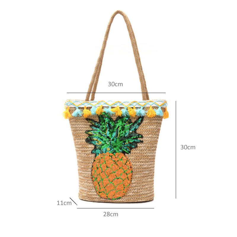 sac ananas paille dimensions
