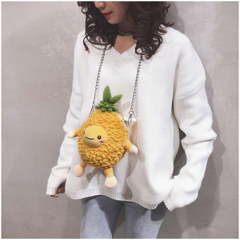sac peluche ananas à bandoulière